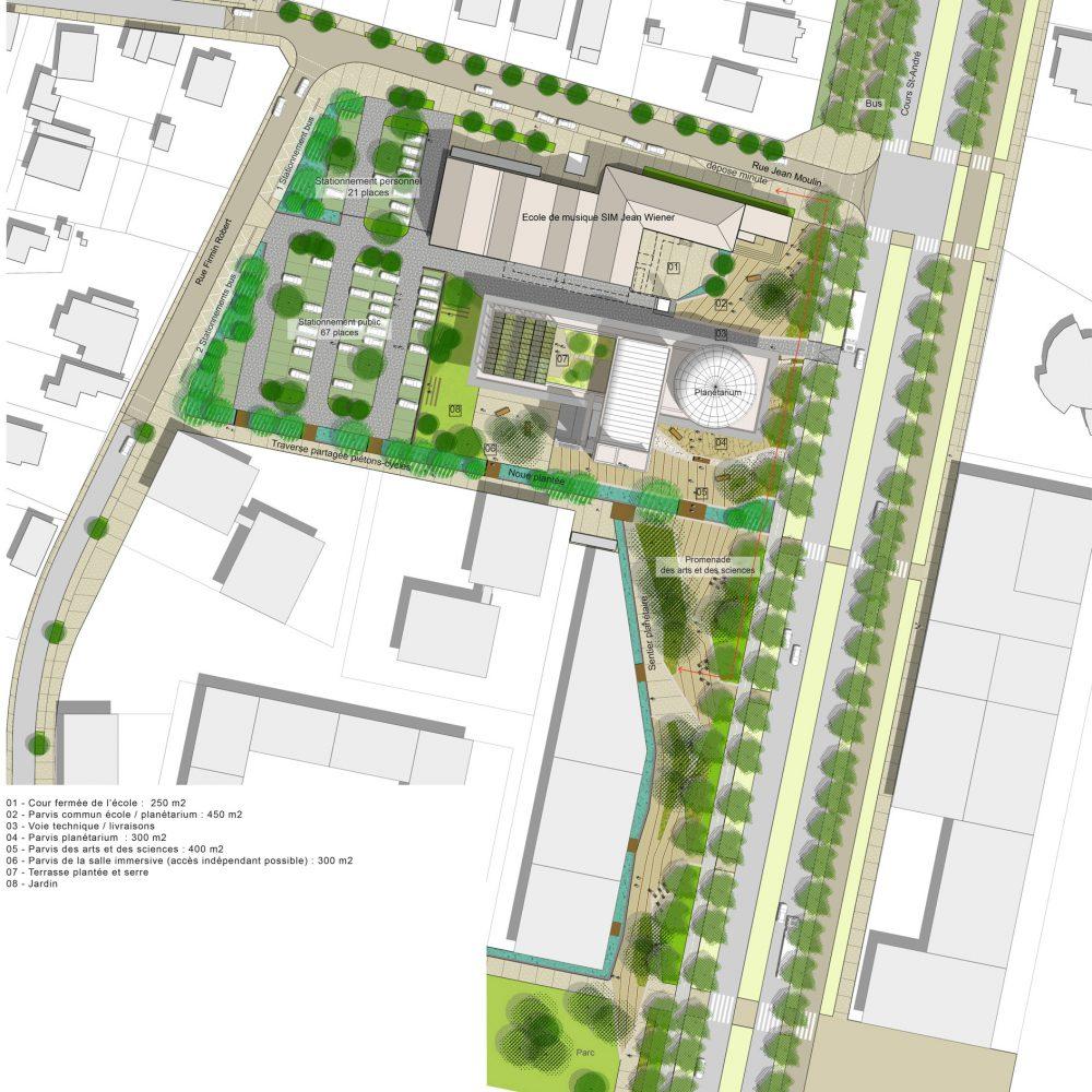 pont de claix-planetarium-plan masse-intégration urbaine