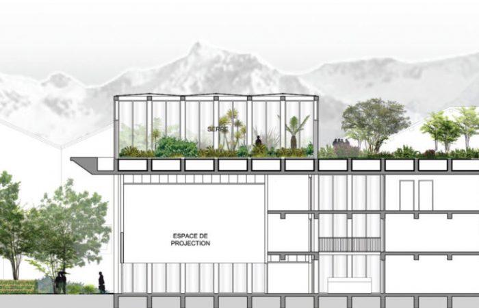 Le jardin communique avec le bâtiment et l'un des parvis, tandis que la serre sur le toit surplombe l'ensemble